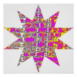 Floral Pink 10 point star Poster