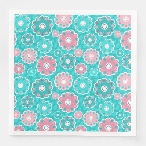 Floral pink and aqua modern paper dinner napkin