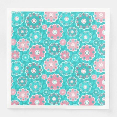 Floral pink and aqua modern paper dinner napkins