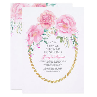 Floral Pink and Gold Watercolor Bridal Shower Card