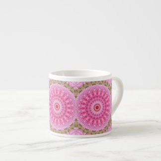 Floral Pink and Green Garden Kaleidoscope Pattern Espresso Cup