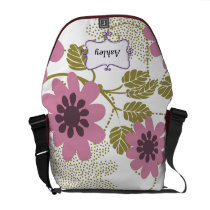 floral pink and purple personalized messenger bag