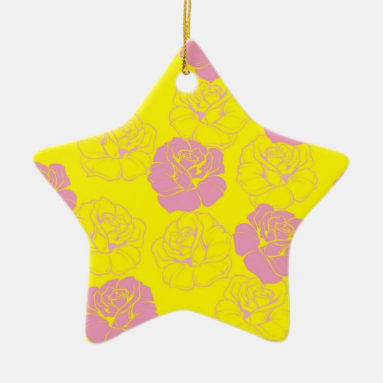 Floral pink and yellow rose pattern ceramic ornament