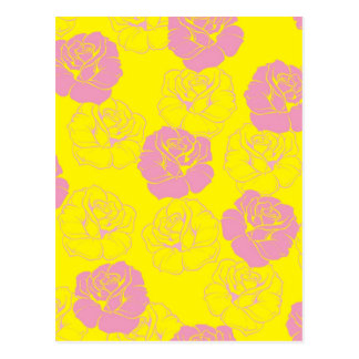 Floral pink and yellow rose pattern postcards