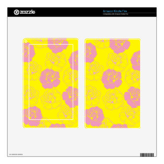 Floral pink and yellow rose pattern skin for kindle fire