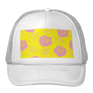 Floral pink and yellow rose pattern trucker hat