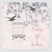 floral pink bird cage, love birds envelope seal