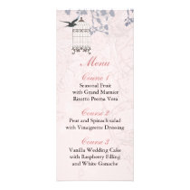 floral pink bird cage, love birds Menu Cards