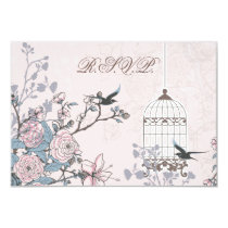 floral pink bird cage, love birds RSVP 3.5 x 5 Card