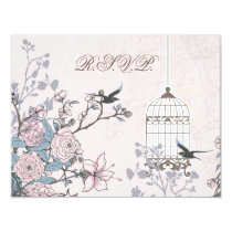 floral pink bird cage, love birds RSVP Card