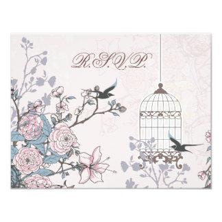 floral pink bird cage, love birds RSVP Card