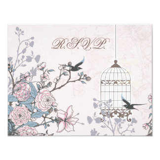 floral pink bird cage, love birds RSVP 4.25x5.5 Paper Invitation Card
