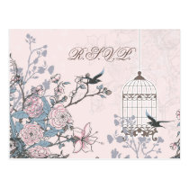 floral pink bird cage, love birds RSVP Postcard