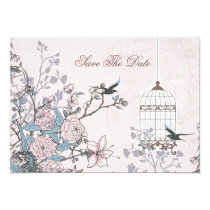 floral pink bird cage, love birds save the dates card