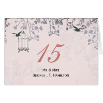 floral pink bird cage, love birds table numbers card