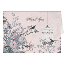 floral pink bird cage, love birds Thank You Card
