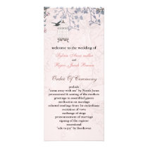 floral pink bird cage, love birds wedding programs
