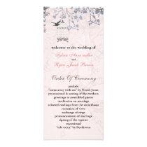floral pink bird cage, love birds wedding programs