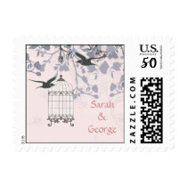 floral pink bird cage, love birds wedding stamps