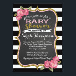 "Floral Pink Black and White Baby Shower Invitation<br><div class=""desc"">matching party items available,  email seasidepapercompany@gmail.com</div>"