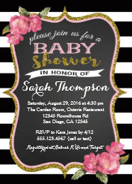 Black and white baby shower invitations announcements zazzle floral pink black and white baby shower invitation filmwisefo Images