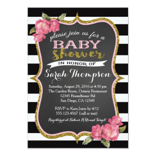 Black And White Baby Shower Invitations Announcements Zazzle