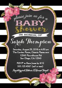 Black and white baby shower invitations zazzle floral pink black and white baby shower invitation filmwisefo