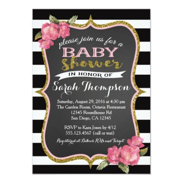 Toddler & Baby themed Floral Pink Black and White Baby Shower Invitation