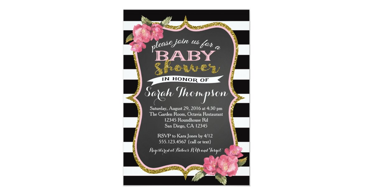 Floral Pink Black and White Baby Shower Invitation | Zazzle.com
