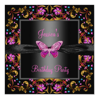 Floral Pink Black Butterfly Birthday Party Card