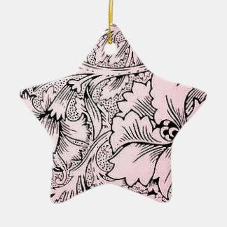 Floral Pink & Black Contemporary Line Design Ceramic Ornament