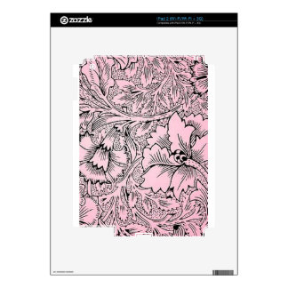 Floral Pink & Black Contemporary Line Design Decals For The iPad 2