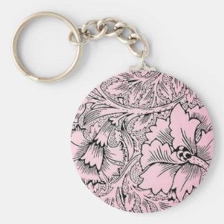 Floral Pink & Black Contemporary Line Design Keychain