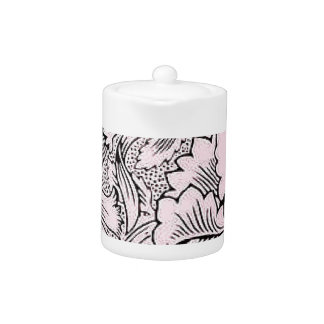 Floral Pink & Black Contemporary Line Design Teapot