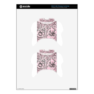 Floral Pink & Black Contemporary Line Design Xbox 360 Controller Decal