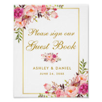 Floral Pink Blush Gold Wedding Guest Book