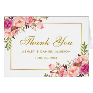 Floral Pink Blush Gold Wedding Thanks Note