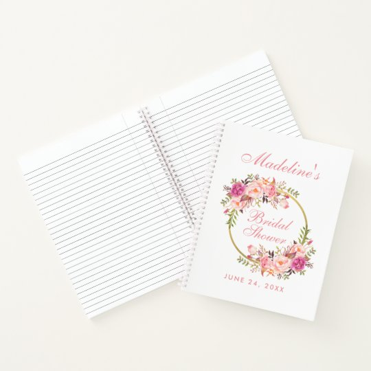floral pink blush wreath bridal shower gift list notebook