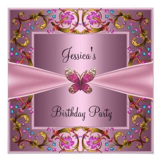 Floral Pink Butterfly Birthday Party Card