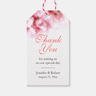 Floral Pink Carnations Thank You Gift Tags