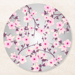Floral Pink Cherry Blossoms Round Paper Coaster