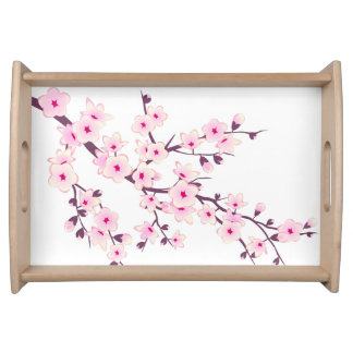 Floral Pink Cherry Blossoms Serving Tray