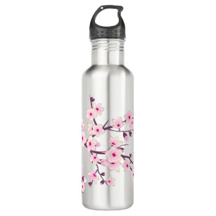 Floral Pink Cherry Blossoms Stainless Steel Water Bottle