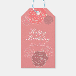Floral Pink Coral Rose Birthday Party Gift Tag
