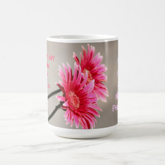Floral, Pink Daisy on Gray Quote from Psalm 118:24 Coffee Mug