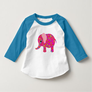 Floral Pink Elephant Neon Blue Raglan Toddler Tee