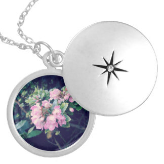 Floral Pink Escallonia Round Locket Necklace
