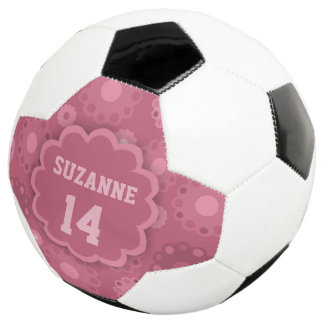 Floral pink funky name and number soccer ball