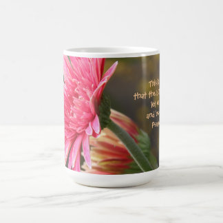 Floral, Pink Gerbera Daisy Quote from Psalm 118:24 Coffee Mug