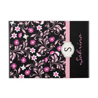 Floral Pink Girls Monogram Folio iPad Mini Covers